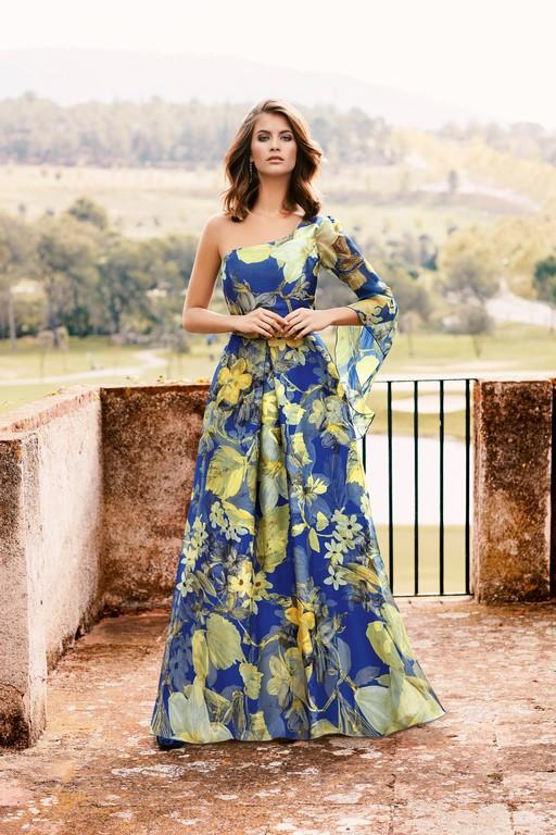 Vestido Largo De Gasa Estampado Nati Jimenez 746